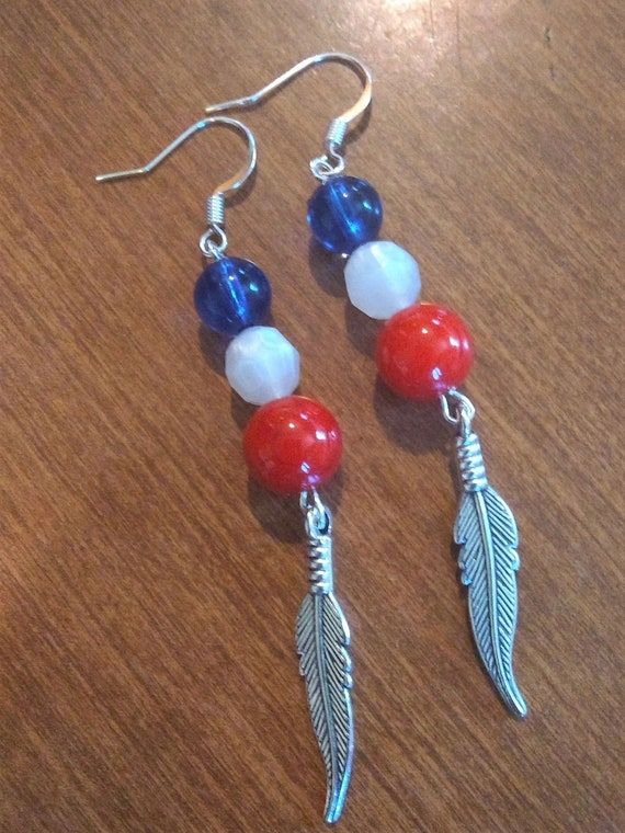 CLEARANCE, 3 Inch Red White Blue Dangle, Hand Crafted, USA Support Jewelry, Freedom Jewelry