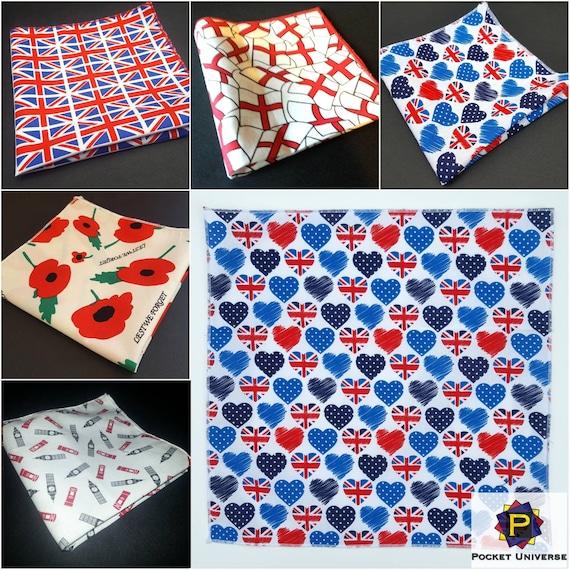 Mens Handkerchieft Great Britain Hanky Union Jack Pocket Square