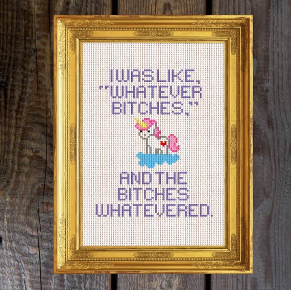 Unicorn Whatever B*s Funny Cross Stitch Pattern Instant Download [Cross  Stitch, Needlepoint, Embroidery, Cross Pattern, Sewing]