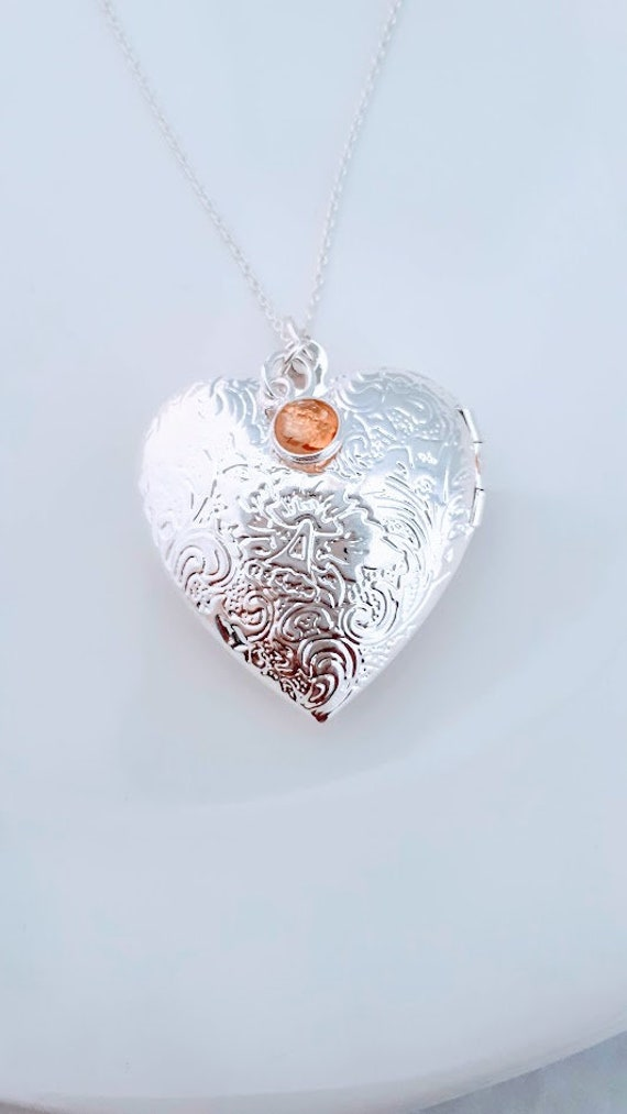 Pet Lover Baby Gemstone Holder Photo Locket Heart Locket Wedding Gift Sterling Silver Clear Glass Heart Photo-Keepsake Locket \u2013 Heart