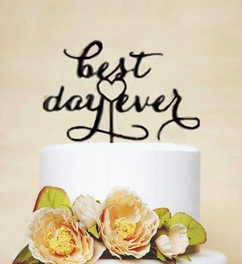 Black Style best day ever acrylic wedding cake topper wedding cake decorations Engagement cake toppers with free shipping