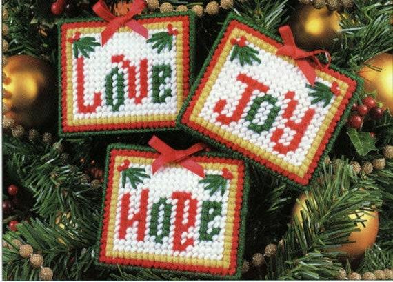 Love Hope Joy Christmas Ornaments Plastic Canvas Pattern