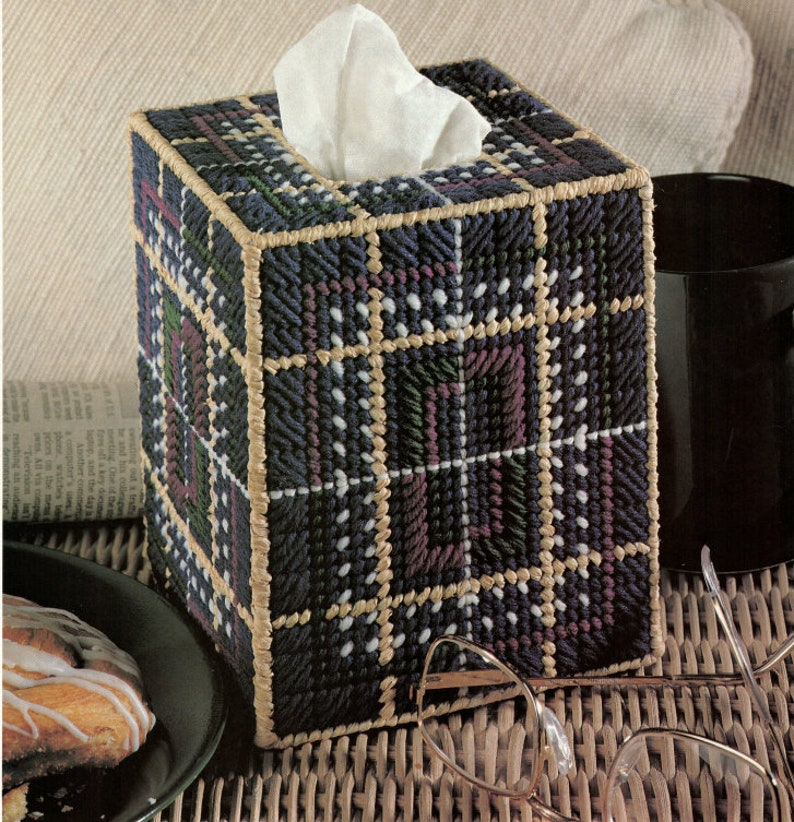 Father/'s Day Plaid Tissue Box Cover Plastic Canvas Pattern