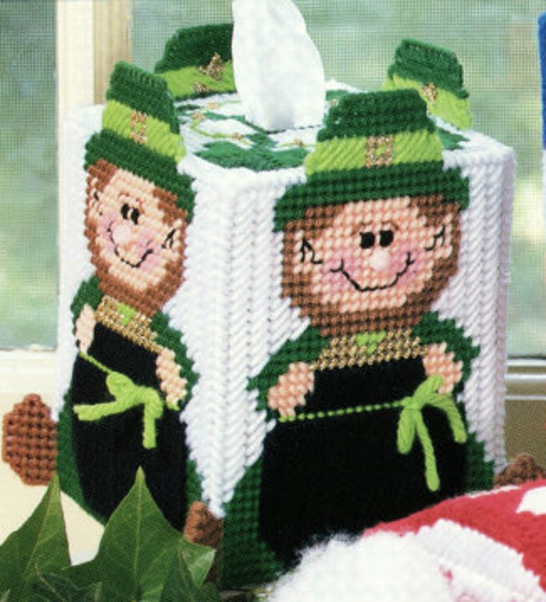 Leprechaun Tissue Box Cover Plastic Canvas Pattern