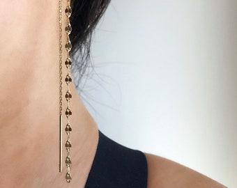 Threader Earrings, Long Dangle Earrings, Dainty Everyday Earrings, Gold Ear Thread, Silver Chain Earrings, Minimalist Chain Threaders Gifts
