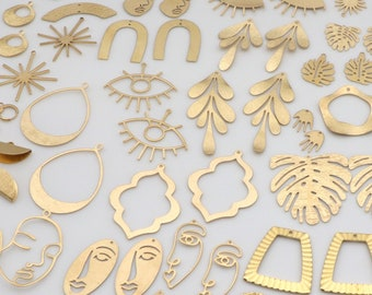 100PCS - Bulk charms Raw Brass Earring Charm,Wholesale earring findings,earring making supplies, jewelry making parts,