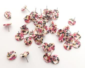 Tortoise Shell Earrings Post - Pink Post Charms - acrylic earring finding - acetate earring Stud  - Acetate Acrylic Earring Charms