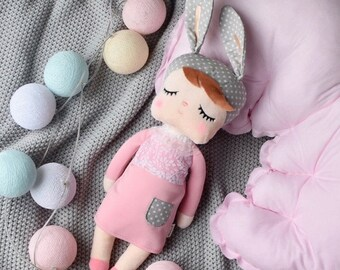 Metoo rabbit doll cuddly doll personalized with name, baby child gift, gift for birth, baptism, first doll, baby doll