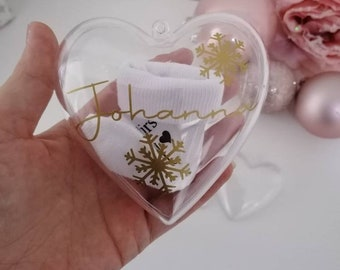 Christmas tree ball heart personalized with socks for pregnancy announcement - Christmas tree ball You become a grandma by name - many colors
