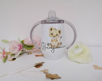 Drinking cup white personalized with name and baby animal, gift birth, baptism, beaked cup with name