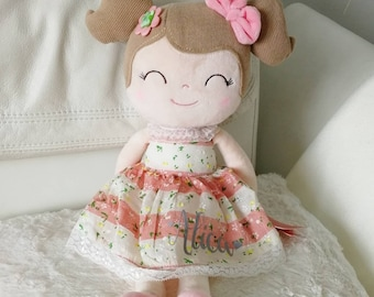 Gloveleya Cuddly Doll Gift Baptism Birthday Girl - first doll - personalized by name - Flower girl red/white