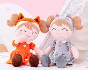 Gloveleya Cuddly Doll Gift Baptism Birth Birthday Girl - first doll Fox or cat - personalized by name - first doll
