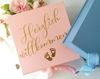 Newborn Gift Box large pink - Memory Box Baby Personalized Reminder Box with Name