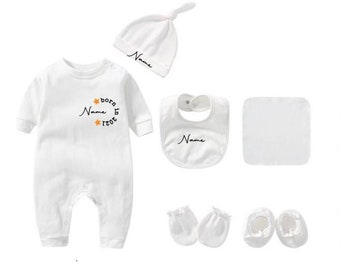 6-piece newborn set body white, caps, dungarees, gloves and shoes as a gift for birth for boys and girls