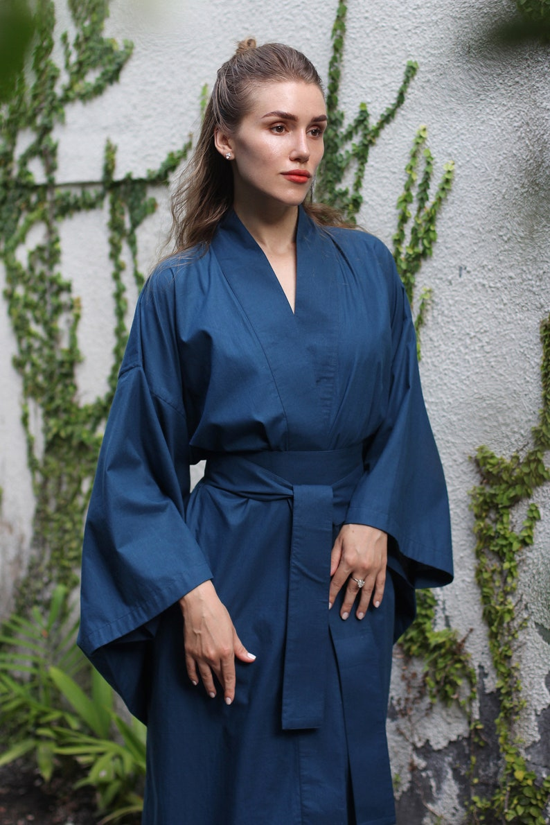 Blue Kimono Long kimono Kimono dress Robe free size Long dress length 130 cm Cotton Dress Cotton Kimono