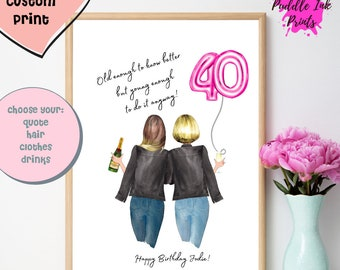 40th birthday gifts for women, Funny 40th Birthday  ,40th Birthday Sign ,Friendship Print , Personalised Friend Gift, NEW DESIGN