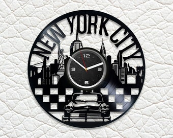 New York City Wall Art Handmade Gift Idea Lp Retro Vinyl Record Clock Modern Birthday For Fan Large