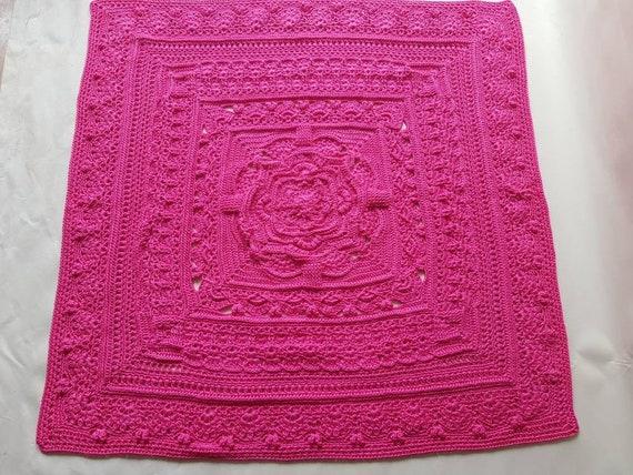UNICORN Baby Blanket Hand made Knitted Crochet Moses Basket Pram Cot GIRL/'S PINK