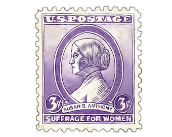 Susan B Anthony Feminist Suffrage Stamp Watercolor Print