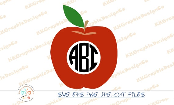 Apple Monogram Svg Apple Svg Teacher Apple Svg Teacherlife Svg Etsy