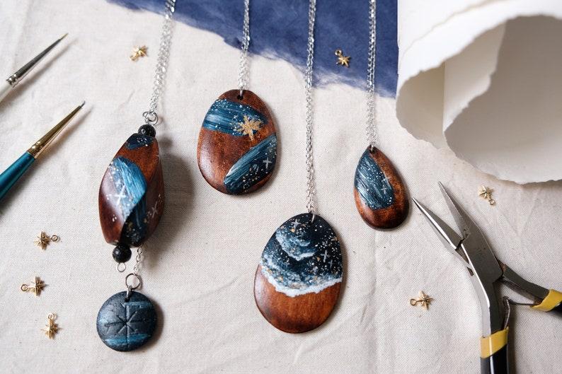 Midnight Stars Necklace 02 Handpainted Blue Ocean Celestial Jewellery