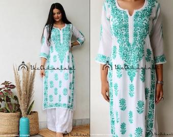 GREEN KURTA Indian lucknawi chikankari kurta handmade embroidery women/'s clothing dresses kurti women wear gift for her shirt kaftan