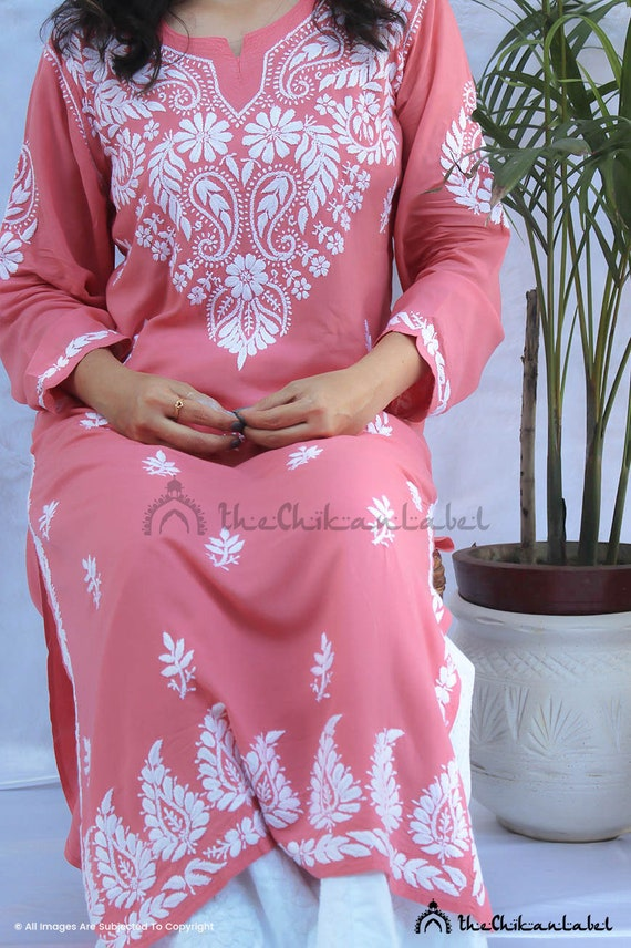 The Chikan Label Lucknawi Chikan Chikankari modal cotton Kurti Pant Set Hand Embroidery Ethnic Wear Kurta