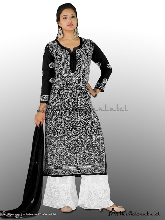 TheChikanLabel Pure Cotton Red Lucknow Chikankari Anarkali Ghaas Patti Kurti.