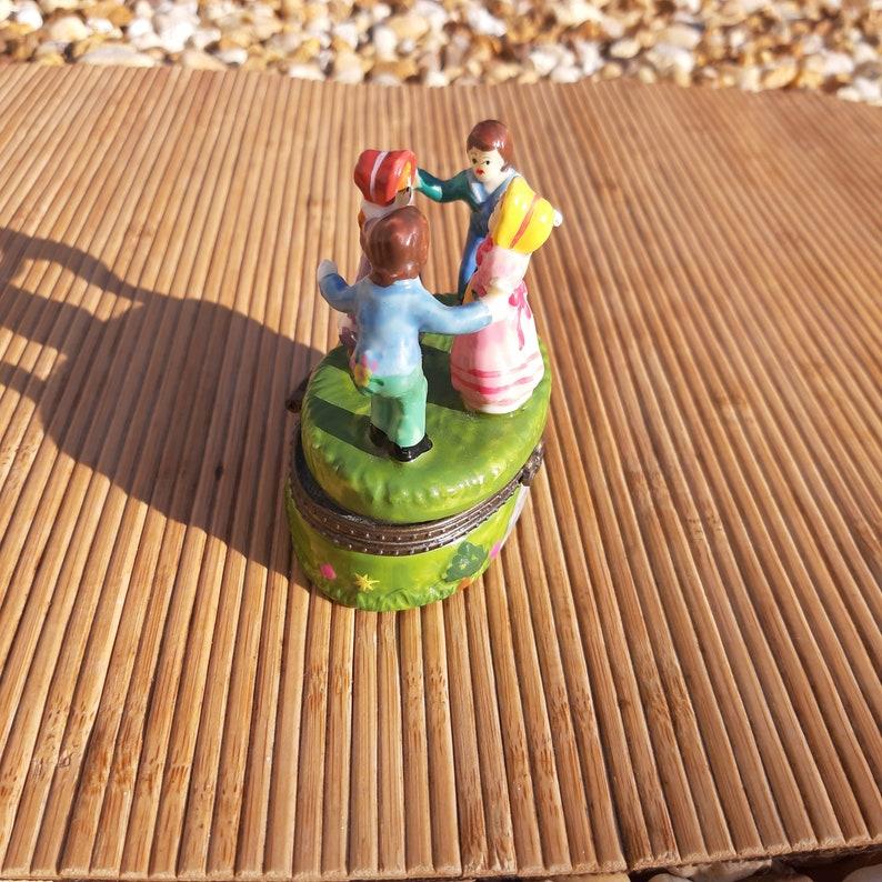 Vintage Ceramic Children Dancing Colorful Trinket Box