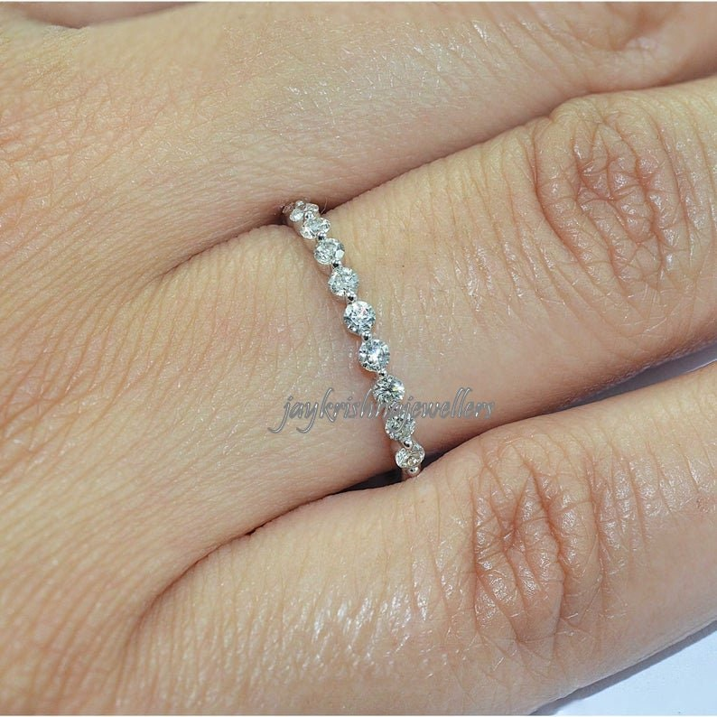Diamond Stackable Ring 14k Solid Gold Minimalist Diamond Curved Ring Diamond Cluster Ring in 14k Solid Gold Brilliant Diamond Gold Ring