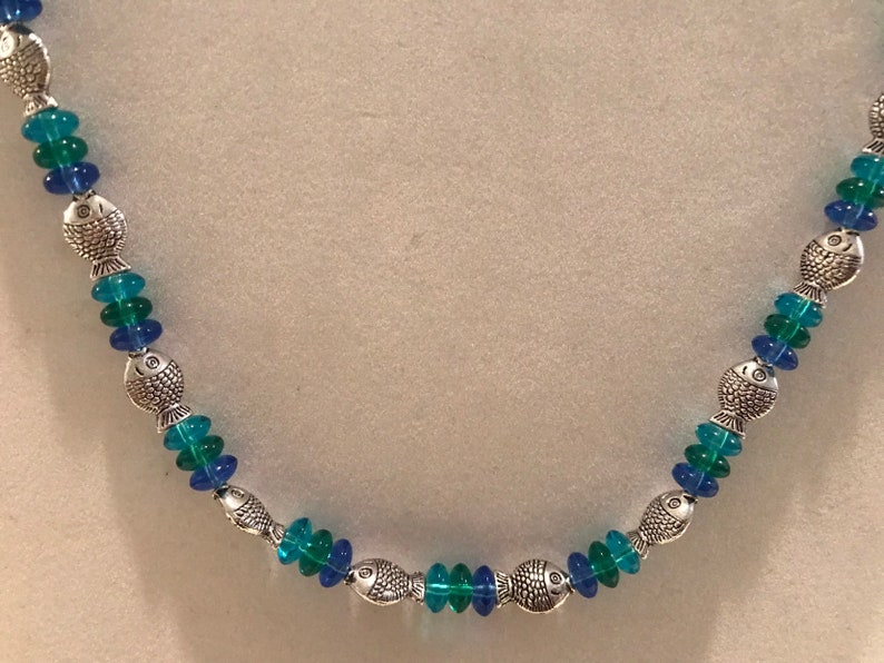 ocean jewelry Blue glass beads with silver fish jewelry set fish jewelry aquatic animal gift set