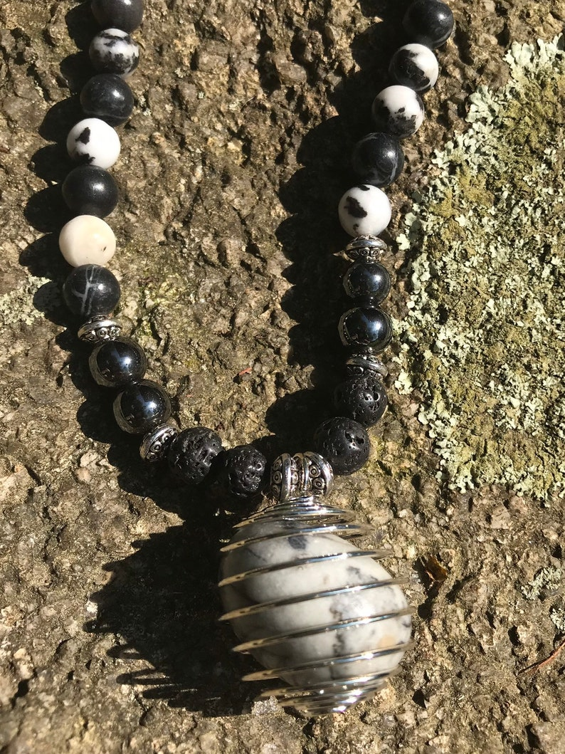 natural necklace stone jewelry with black and white Stone beaded necklace Zebra Jasper pendant in cage