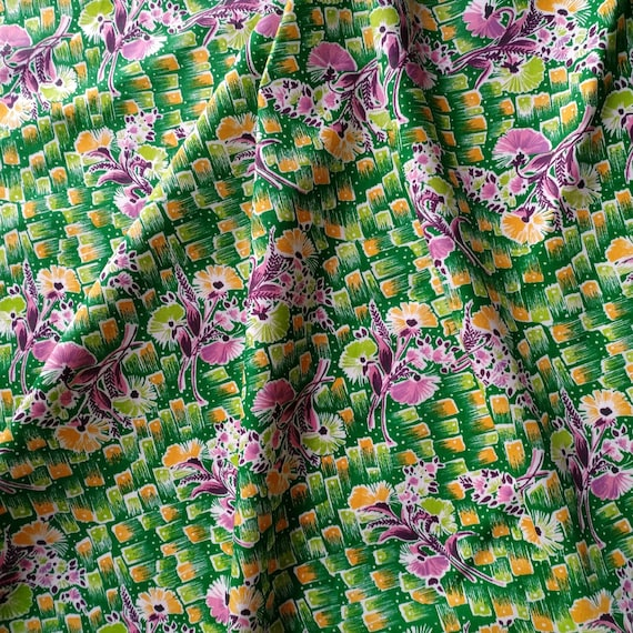 Vintage Cotton Fabric Made in USSR. 70s Soviet Cotton Fabric, Russian Vintage Fabric with Flowers, Retro Fabric.