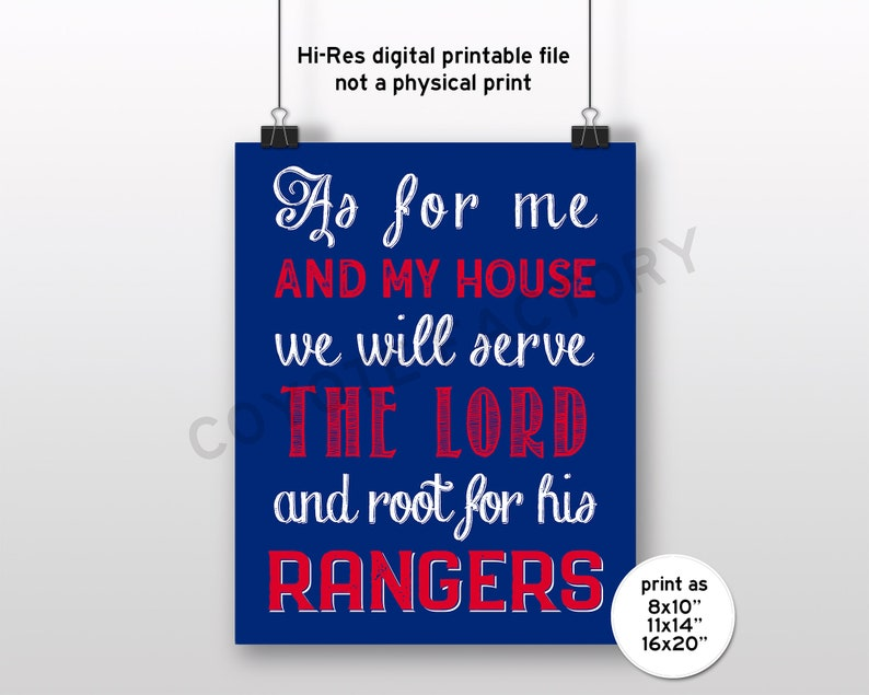 photograph relating to Rangers Printable Schedule referred to as Texas Rangers Printable Signal As For Me And My Home, Prompt Obtain Provide The Lord Electronic History