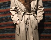 VINTAGE Rabbit fur lined trench coat with opossum fur collar