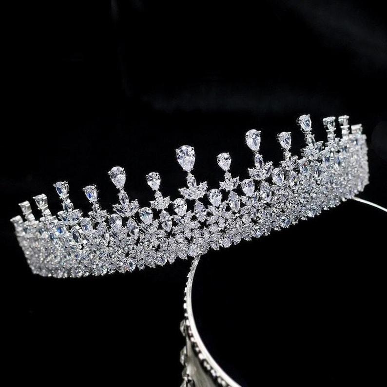 Sparkling Cubic Zirconia Tiara KELLY Sparkling Silver Tiara