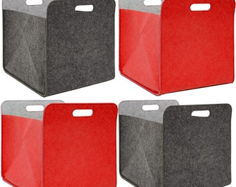 4er Set Filz Aufbewahrungsbox 33x33x38 cm Kallax Filzkorb Regal Box Filzbox