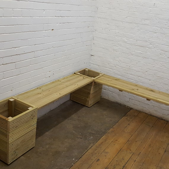 Strange Wooden Garden Corner Bench With Square Planters Decking Benches Combination Seat Decking Planters Theyellowbook Wood Chair Design Ideas Theyellowbookinfo