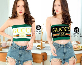 c532cd31ec17fa Reworked GUCCI Tube Top   Crop Top  Halter Top   inspired Tommy Jeans    Swimwear   Festival Tops