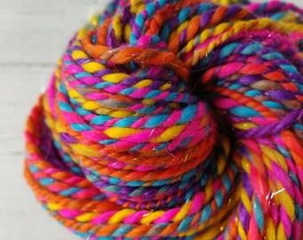 Handspun Yarn Blue Pink Yarn 240 Yards Yarn Crochet Supply Handspun Merino Weaving Supply Knitting Supply Worsted AranBulky Weight