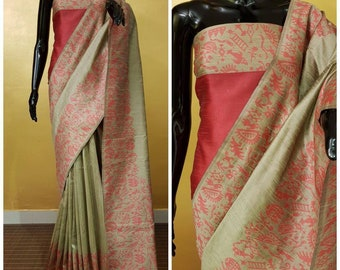 ff84fa22ab863 Banglori handloom raw silk saree with rich pallu and contrast blouse piece