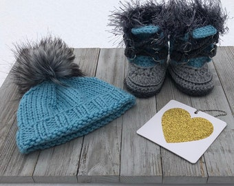 cdec3d537a6 Handmade Croheted and Hand Knit Baby Boy Gift Set