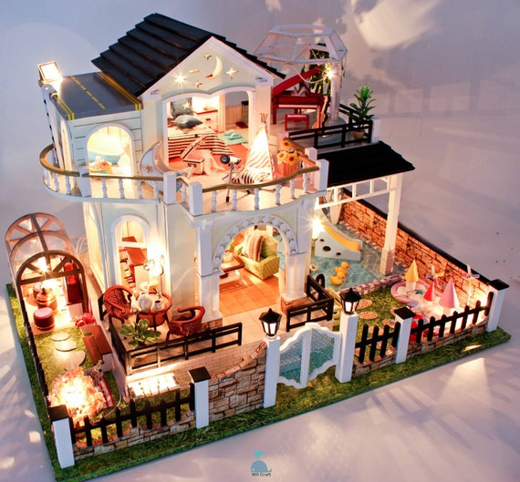 DIY Handcraft Miniature Project Wooden Dolls House My Beach Villa in Valencia