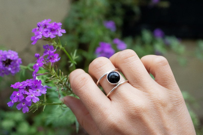 Gift Ring All Size Silver Ring Black Onyx Ring Gemstone Ring Designer Ring Birthstone Ring Gemstone Ring Silver Ring Round cabochon