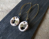 Steampunk terracotta ceramic hoop earrings - Original gift idea