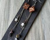 Brown ceramic square earrings in terracotta ceramic-Original gift idea