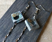 Steampunk square pendant earrings in terracotta ceramic-Idea original gift