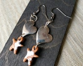 Metal heart and little man's ceramic earrings in terracotta ceramic-Original gift idea