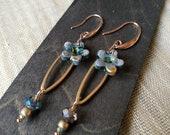 Earrings dangling blue flowers in terracotta ceramic-Original gift idea