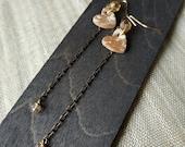 Brown ceramic brown heart pendant earrings terracotta-original gift idea